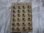1950's French Clear and Grey Lucite Buttons on Original Card